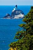 Opinión de Cliffside del faro de Tillimook, Oregon Foto de archivo