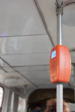 Opinión de Clsoe-up el lector del boleto a bordo de una tranvía Fotografía de archivo