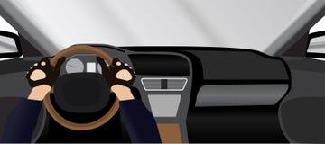 Opinión de conductor de coche desde adentro Imágenes de archivo libres de regalías