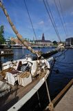 Opinión de Copenhague con sailship histórico Imágenes de archivo libres de regalías