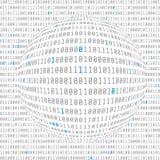 Opinión de datos binarios CyberSecurity hemisferio cóncavo del código binario con los pedazos dominantes asignados Vector libre illustration
