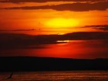 Opinión de Evining del cielo del lago Victoria Imagenes de archivo