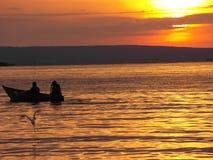 Opinión de Evining del lago Victoria Fotos de archivo