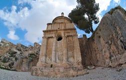 Opinión de Fisheye de la tumba de Absalom en Jerusalén Fotografía de archivo