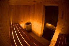 Opinión de Fisheye del interior de la sauna Foto de archivo libre de regalías