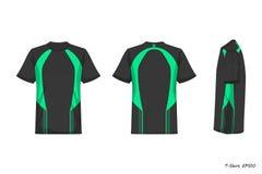 Opinión de Front Back Side de la camisa de deporte aislada en el fondo blanco, stock de ilustración
