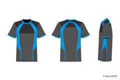 Opinión de Front Back Side de la camisa de deporte aislada en el fondo blanco, ejemplo, ropa de deportes stock de ilustración