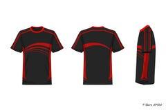 Opinión de Front Back Side de la camisa de deporte aislada en el fondo blanco, ejemplo, sportwear stock de ilustración