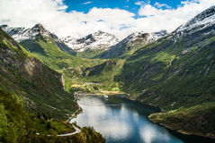 Opinión de Geirangerfjord Imagen de archivo