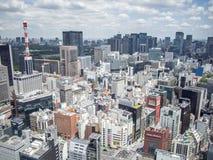 Opinión de Ginza del centro de ciudad de Shiodome, Tokio, Japón fotografía de archivo