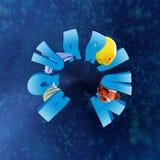 opinión de 360 grados del ACUARIO de la palabra con muchos pescados tropicales Imagen de archivo