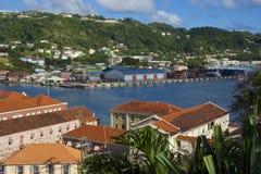 Opinión de Grenada - ciudad de San Jorge Imagen de archivo libre de regalías