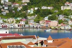Opinión de Grenada - ciudad de San Jorge Imagenes de archivo