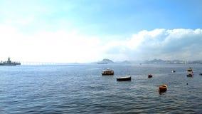Opinión de Guanabara Bay BaÃa de Guanabara a partir XV de Praça cuadrado XV imagen de archivo