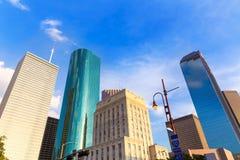 Opinión de Houston Skyline North en Tejas los E.E.U.U. Imágenes de archivo libres de regalías