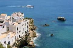Opinión de Ibiza con el mar Mediterráneo agradable Foto de archivo