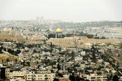 Opinión de Jerusalén sobre la ciudad vieja Imagenes de archivo