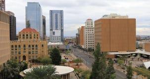 opinión de 4K UltraHD que mira abajo en Phoenix, Arizona céntrico almacen de metraje de vídeo