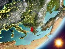 Opinión de la órbita de Albania durante salida del sol libre illustration