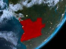 Opinión de la órbita de Angola en la noche ilustración del vector