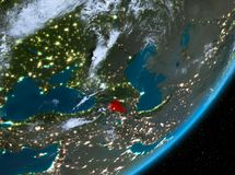Opinión de la órbita de Armenia en la noche ilustración del vector