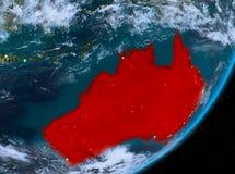 Opinión de la órbita de Australia en la noche stock de ilustración