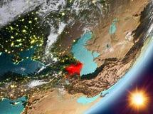 Opinión de la órbita de Azerbaijan durante salida del sol libre illustration