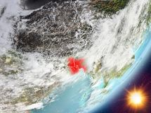 Opinión de la órbita de Bangladesh durante salida del sol ilustración del vector