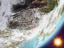 Opinión de la órbita de Bhután durante salida del sol stock de ilustración