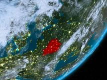 Opinión de la órbita de Bielorrusia en la noche ilustración del vector