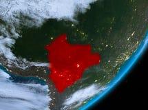 Opinión de la órbita de Bolivia en la noche ilustración del vector