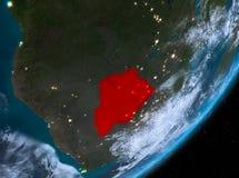 Opinión de la órbita de Botswana en la noche ilustración del vector