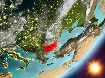 Opinión de la órbita de Bulgaria durante salida del sol stock de ilustración