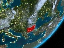 Opinión de la órbita de Bulgaria en la noche libre illustration