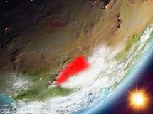 Opinión de la órbita Burkina Faso durante salida del sol stock de ilustración
