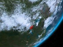 Opinión de la órbita de Burundi en la noche stock de ilustración