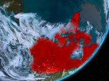 Opinión de la órbita de Canadá en la noche stock de ilustración