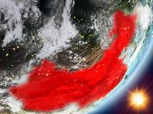 Opinión de la órbita de China durante salida del sol stock de ilustración