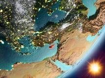 Opinión de la órbita de Chipre durante salida del sol stock de ilustración
