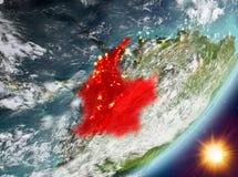 Opinión de la órbita de Colombia durante salida del sol libre illustration
