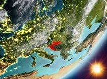 Opinión de la órbita de Croacia durante salida del sol ilustración del vector