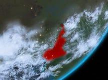 Opinión de la órbita del Camerún en la noche libre illustration