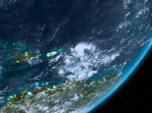 Opinión de la órbita del Caribe en la noche libre illustration