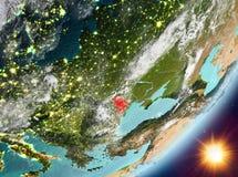 Opinión de la órbita del Moldavia durante salida del sol ilustración del vector