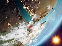 Opinión de la órbita de Djibouti durante salida del sol ilustración del vector