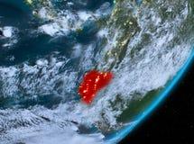 Opinión de la órbita de Ecuador en la noche ilustración del vector