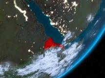 Opinión de la órbita de Eritrea en la noche stock de ilustración