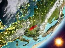 Opinión de la órbita de Eslovaquia durante salida del sol libre illustration