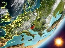 Opinión de la órbita de Eslovenia durante salida del sol libre illustration