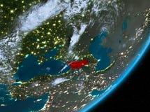 Opinión de la órbita de Georgia en la noche ilustración del vector